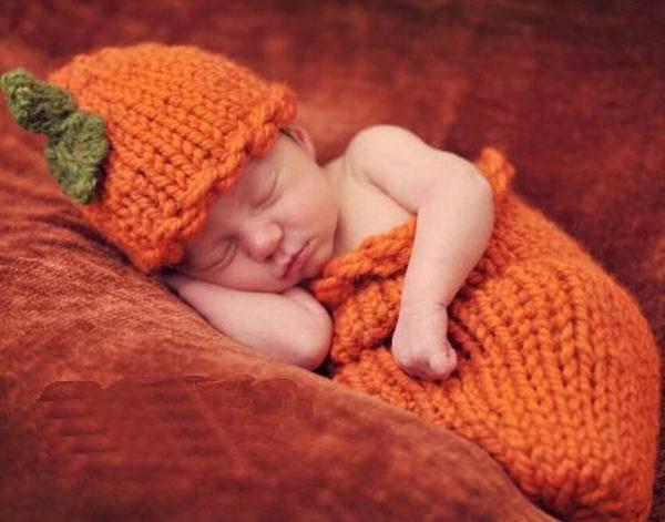 Морковь Sleepping сумка ручной шапочки костюм трикотажные крючком новорожденный фотографии опоры новорожденных фотография шляпа и брюки