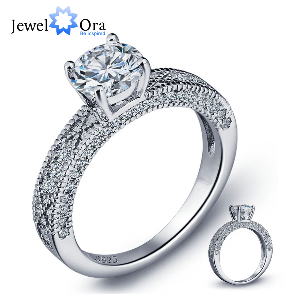 Wedding-Jewelry-Accessories Engagement 925-Sterling-Silver Charming Bridal-Ring Ring-Luxurious