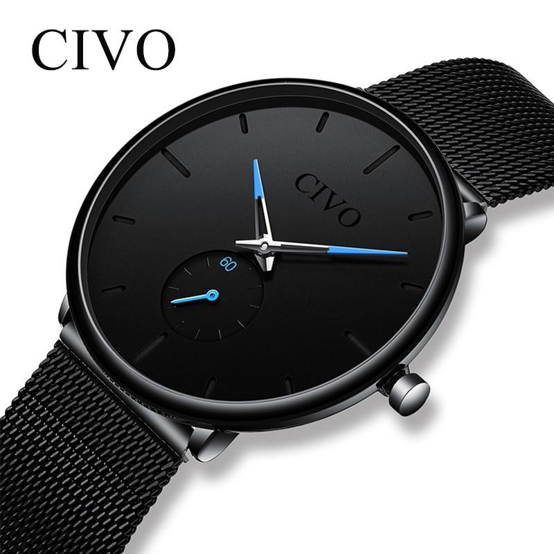 CIVO Fashion Mens Watch Slim Mesh Steel Waterproof Minimalist Wrist Watches For Men Quartz Sports Watch Clock Relogio Masculino
