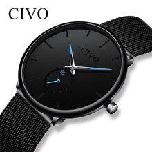 Чиво модные Для мужчин s часы тонкая сетка Сталь Водонепроницаемый минималистский наручные часы для Для мужчин кварцевые спортивные часы Relogio Masculino