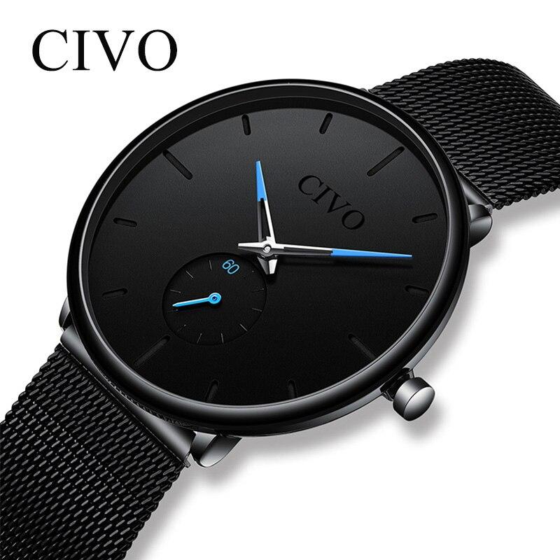 CIVO Mens moda Slim Mesh acero minimalista impermeable relojes para hombres deportes de cuarzo reloj Relogio Masculino