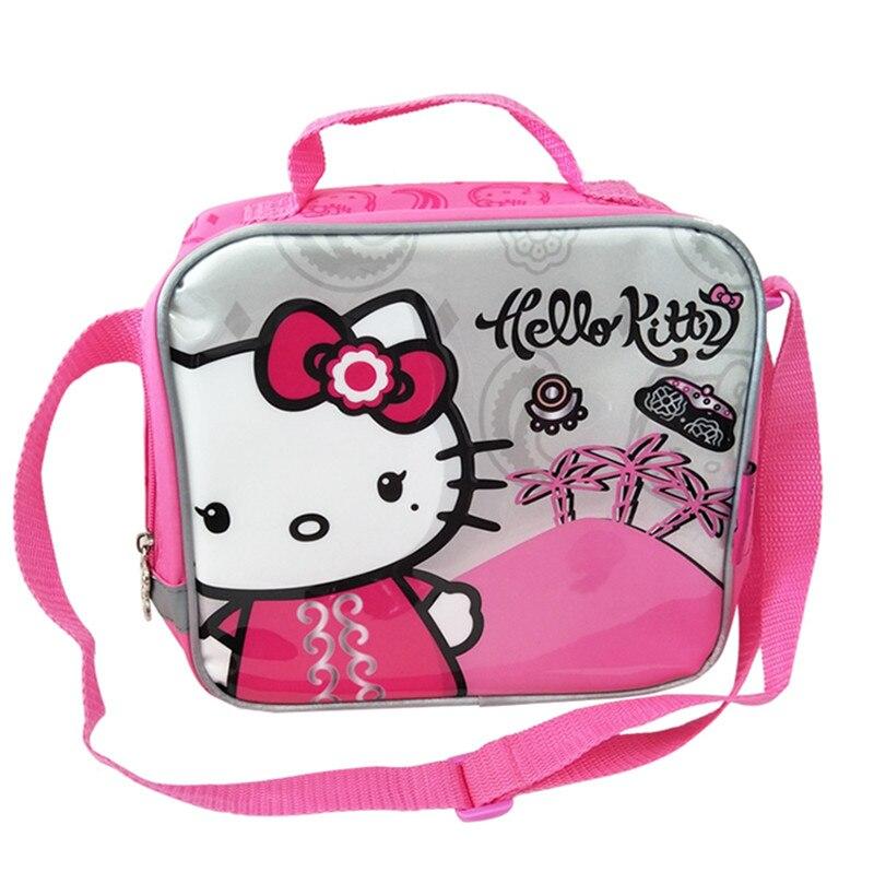 ff7a711e7b2c Милый мультфильм розовый рисунок «Hello Kitty» обед мешок для детей девушки  школьные Курьерские сумки