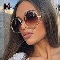 Oversize Rodada Óculos De Sol Das Mulheres do vintage Liga Quadro Marca Designer Moda Circulando Em Torno Oco Sapo Óculos de Sol UV400