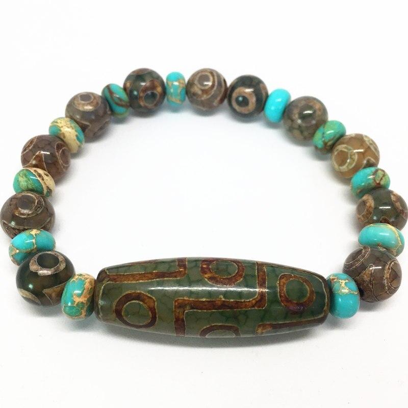 Green Natural Agate 9 eyes Pattern Tibetan Dzi Beads elastic Bracelet for women free shipping