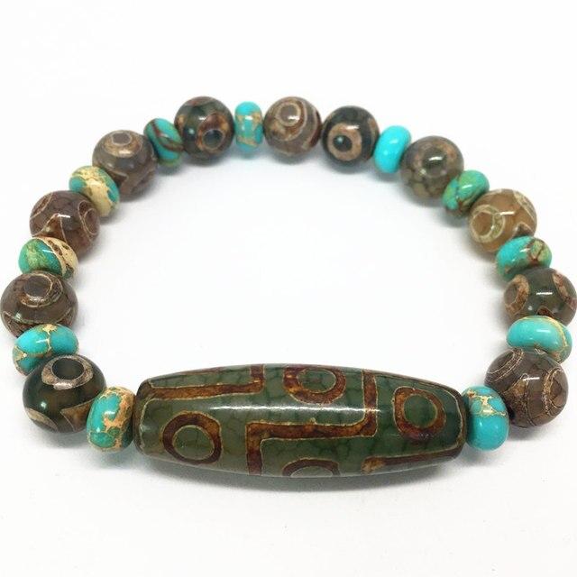 Groene Natuurlijke Agaat 9 Ogen Patroon Tibetaanse Dzi Kralen Elastische Armband Voor Vrouwen Gratis Verzending