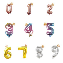 16inch 32inch Color Change Number Crown Balloons Digit Air Ballon Kids Birthday Party Wild One Decorations  Anniversary