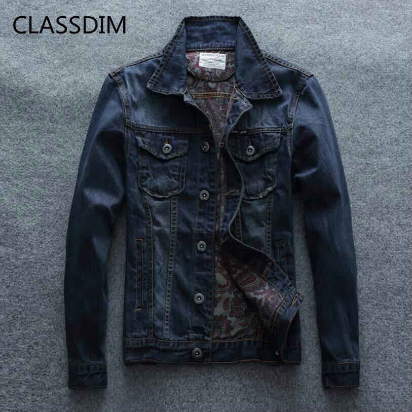 CLASSDIM Denim Jacket Men Fashion Slim Denim Coats jean Jackets Good quality Men Cotton Denim Coats Outwear Casual Jean Jackets