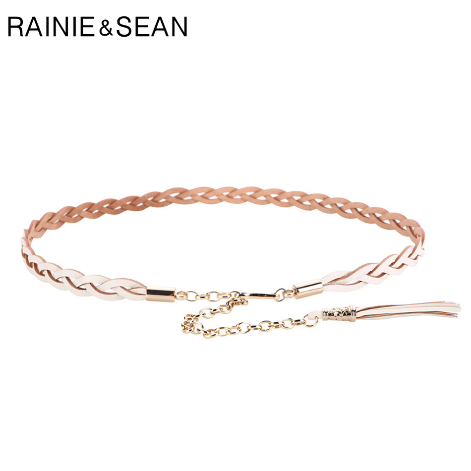 RAINIE SEAN Braided Belt Woman White Chain Belt Genuine Cow Leather Tassel Luxury Designer Brand Thin Elegant Ladies Dress Belts