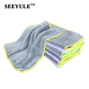 1pc SEEYULE coral fleece/coral velvet Car Wash Towel Kitchen Cleaning Cloth Water Absorption Detailing Dust Remove Grey White