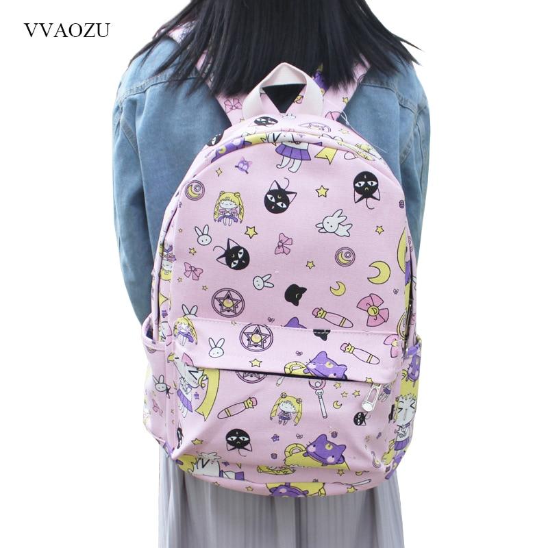 Japanese Women Backpacks Sailor Moon Card Captor Sakura Print Bookbags Canvas Backpack Shoulder School Bag For Girls Rucksack