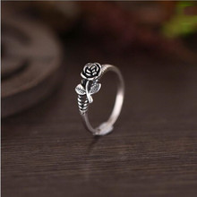 925 Sterling Silver Thai Silver Fashion Jewelry Personality Rose Atmosphere Exquisite Accessories Female Opening Ring SR246