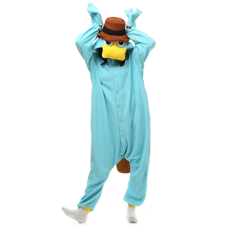 Perry the Platypus Pajamas Onesie Blue Nightgown Homewear Adults Unisex Pyjamas Hombre Cloth For Women Hot Selling LTY117