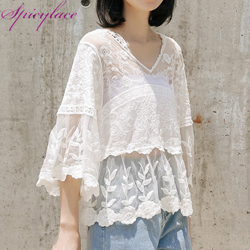 2019 Summer White Floral Flowers Lace   Blouse   Casual   Shirt   Women Tops Elegant Hollow Out Summer Tops Female Short Sleeve Blusas
