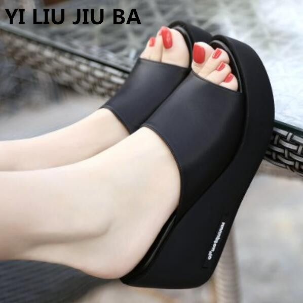 Hot Sale Women Shoes Summer Fashion PU Leather Leisure Shoes Women Platform Wedges Fish Mouth Sandal Thick Bottom Slippers **967