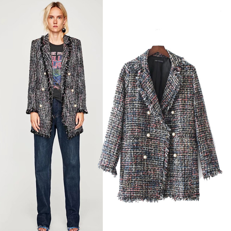 orologio 75304 ee797 Vintage Blazer e Giacche Donna Elegante Perle Nappa Tweed Blazer ...