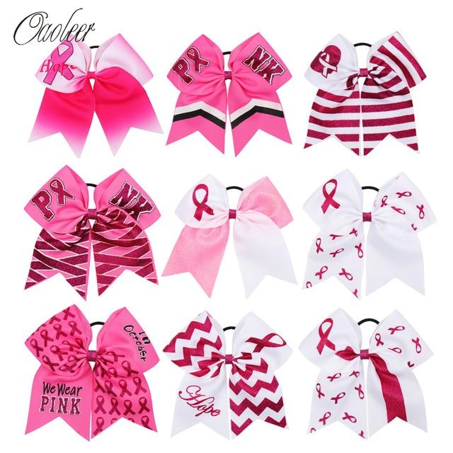 4 Pcs/Lot 7 Inch Breast Cancel Awareness Cheer Bows for Girls Ribbon Hair Holder with Elastics Glitter Print Headdress for Kids