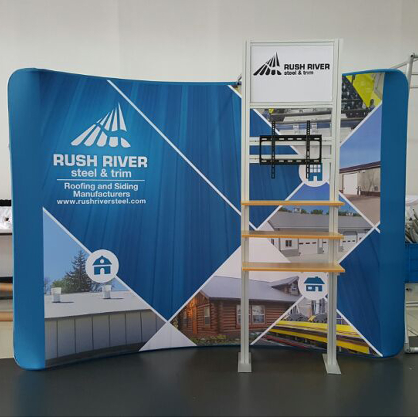 Trade Show Booth With Shelves : Portable ft curved fabric trade show display pop up booth with
