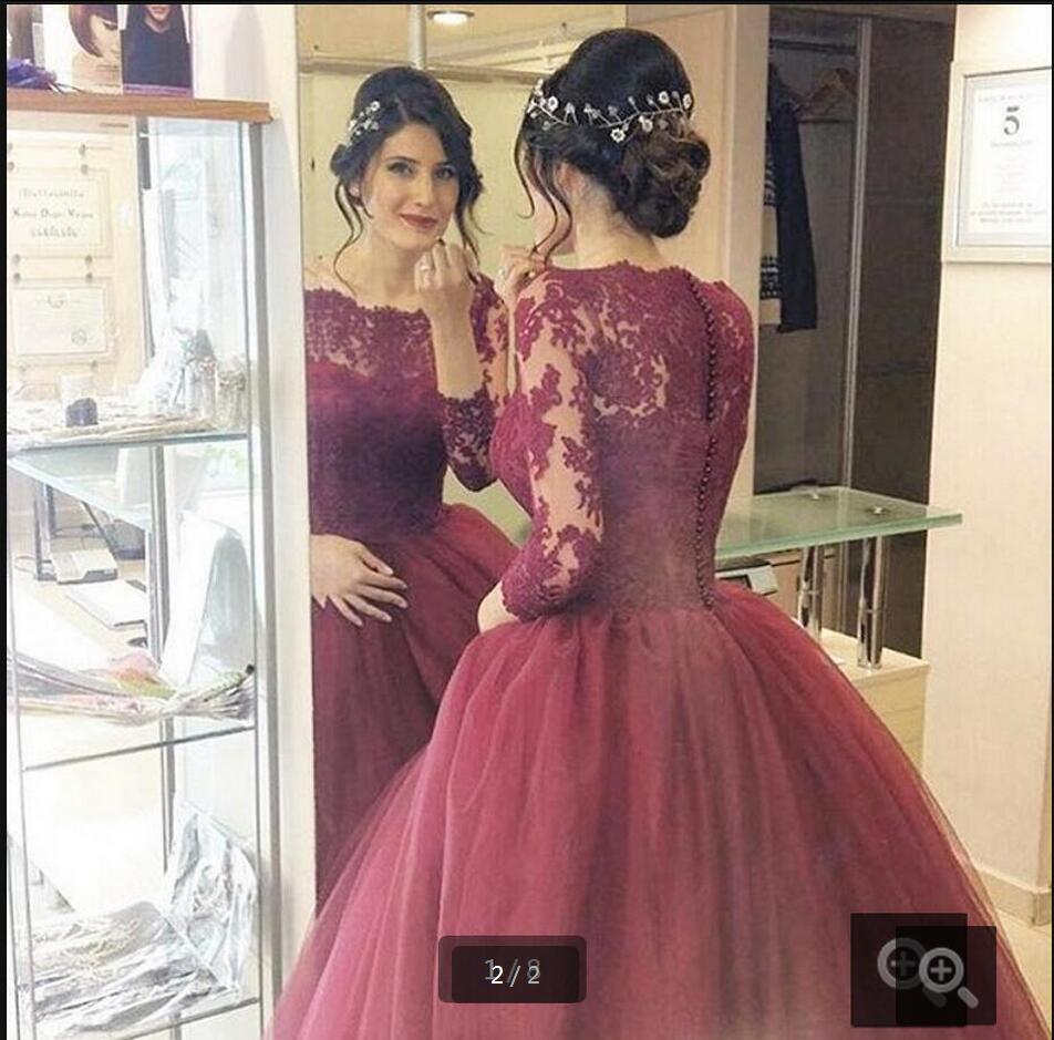 Simple A Line Long Sleeve Wedding Dress Elegant 2016: New Arrival Burgundy Long Sleeve Modest Prom Dresses Ball