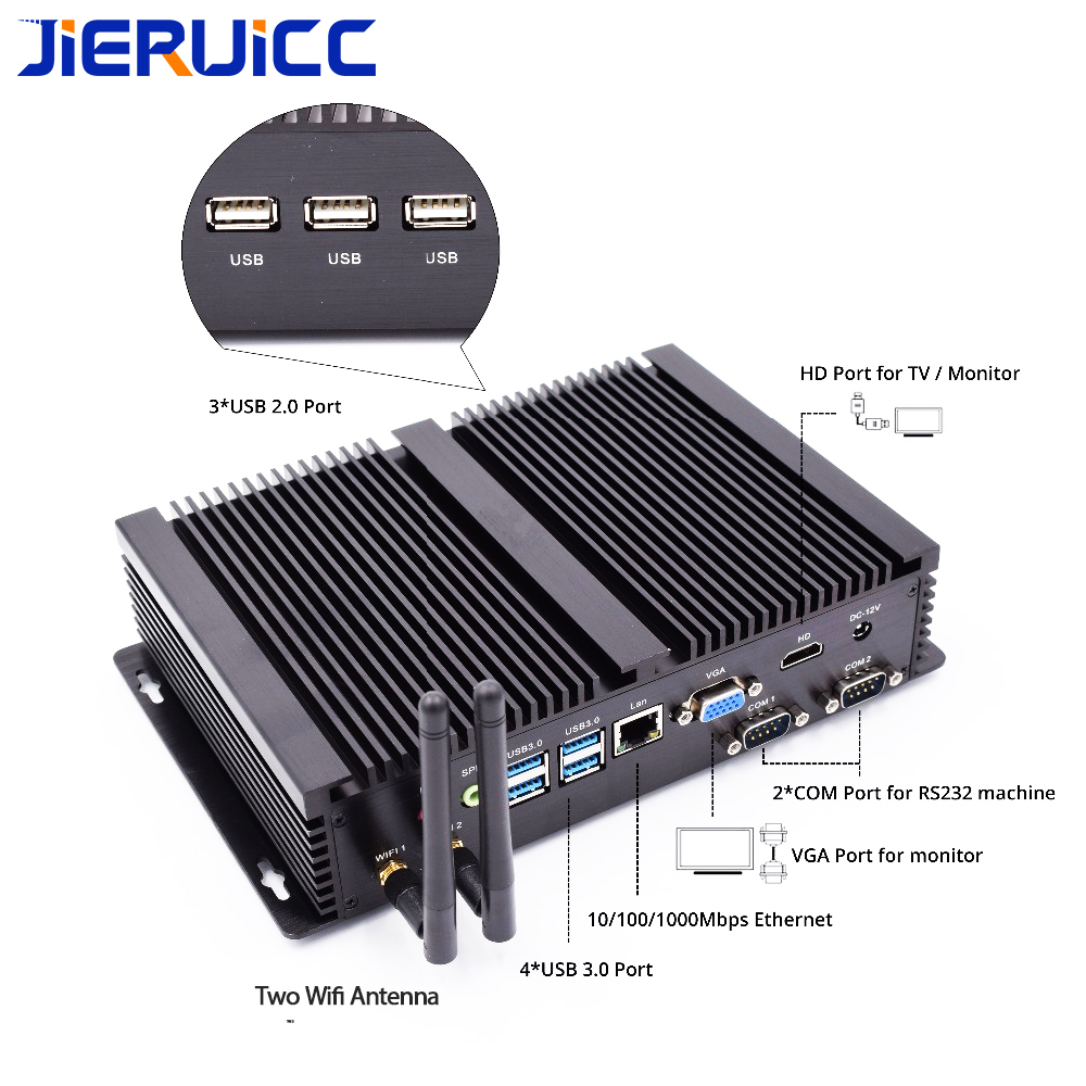 Image 4 - 2COM RS232 FANLESS MINI PC WITH 4 USB3.0,INTEL CORE I3 I5 I7 CPU DUAL CORE 4THREADS,7*24HOURS WORKING,LOW POWER CONSUMPTION-in Mini PC from Computer & Office