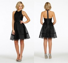 2014 New Arrival Simple Black Bridsmaid s Gown Halter Backless Adult Satin Knee Length Ball Gown