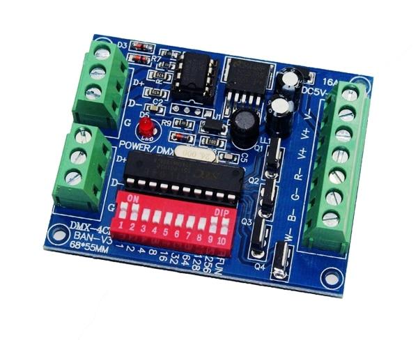 Wholesale DC5V-24V 4CH 4 Channel RGBW Easy Dmx512 DMX Decoder,Dimmer,Controller,Driver,for LED Strip Light Tape Lamp Module