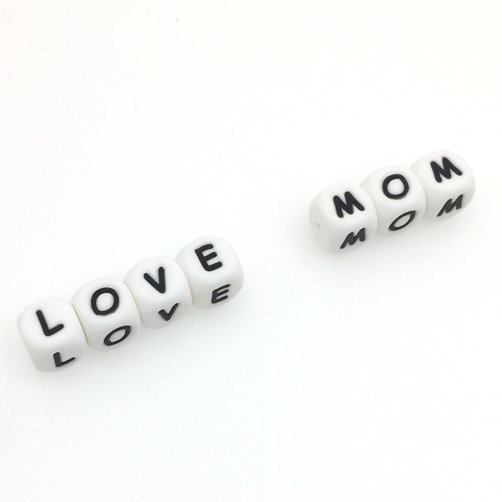 Kovict 12mm 500pc Silicone letters Beads Baby Teether Beads Chewing Alphabet Bead For Personalized Name DIY Teething Necklace