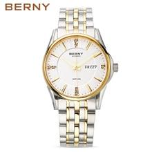 Берни 2017 автоподзаводом часы для мужчин автоматические механические мужские часы лучший бренд полный стали световой мужской наручные часы AM071M