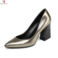 Original Intention 2018 Fashion Women Pumps Cow Leather Pointed Toe Square Heels Pumps Green Champagne Shoes