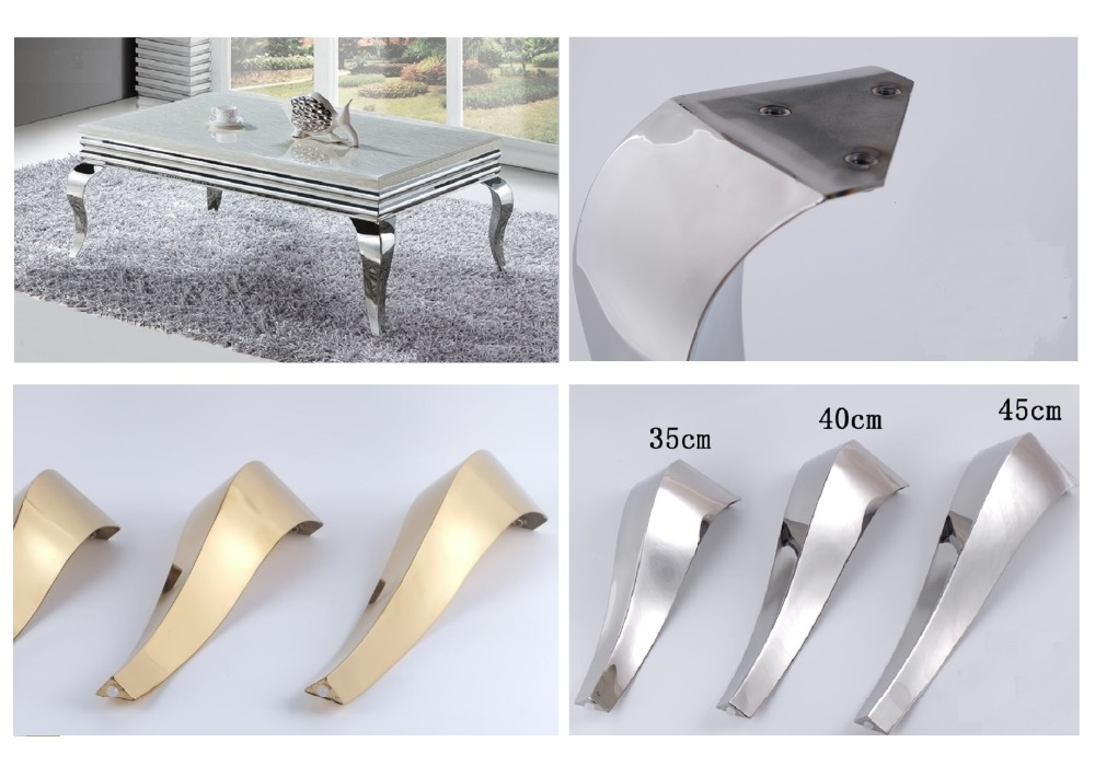 2Pcs/Lot  Shiny Gold Stainless Steel Furniture Bath Tea Coffee Stool Bar Sofa Chair Leg Legs Feet S Snake European