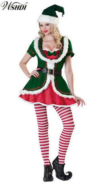 Deluxe Adults Women Santa Claus Elf Christmas Costume Cosplay Uniform Xmas Home Party Costume Christmas Costume  sc 1 st  AliExpress.com & Deluxe Adults Women Santa Claus Elf Christmas Costume Cosplay ...