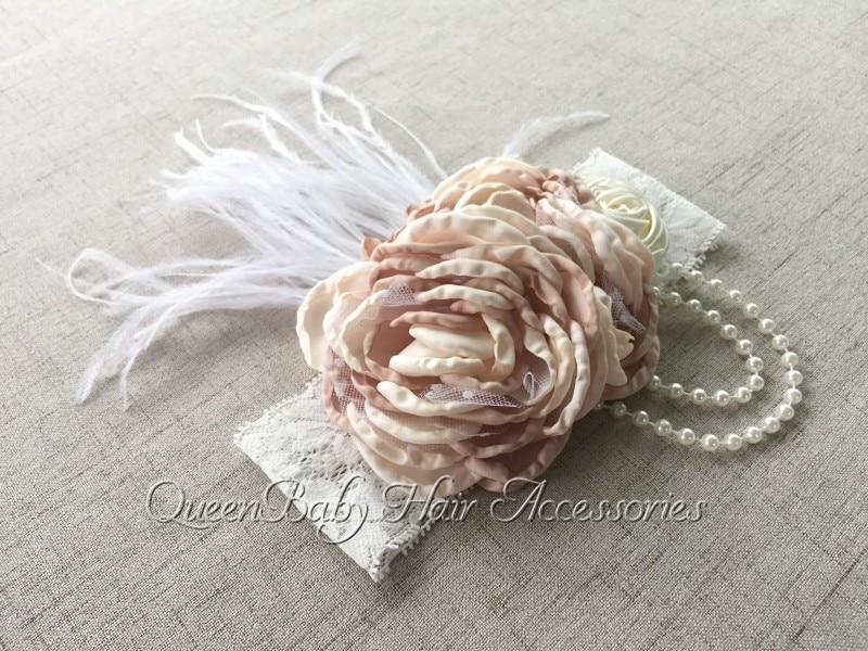 Handmade Singed Satin Flower Headband Baby Girl Hair Accessory Lace Headband bulk buys wm415 96 simplicity embroidered sequin flower headband accent