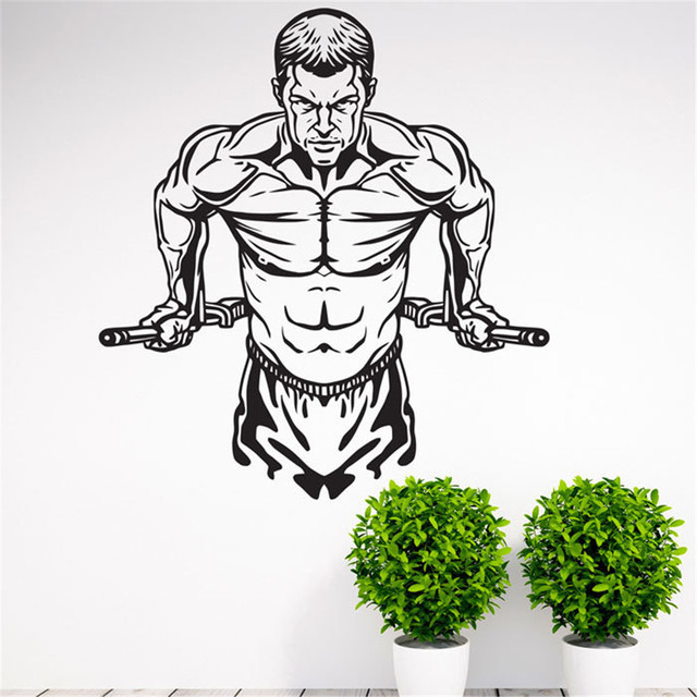 Workout Gym Fitness Wall Decal Art Home Decor Vinyl Stickers For Sports Studio Boys Room
