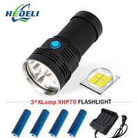 most powerful flashlight cree xhp70 long range flashlight 18650 Rechargeable hand lamp camping spotlight hunting lampe torche