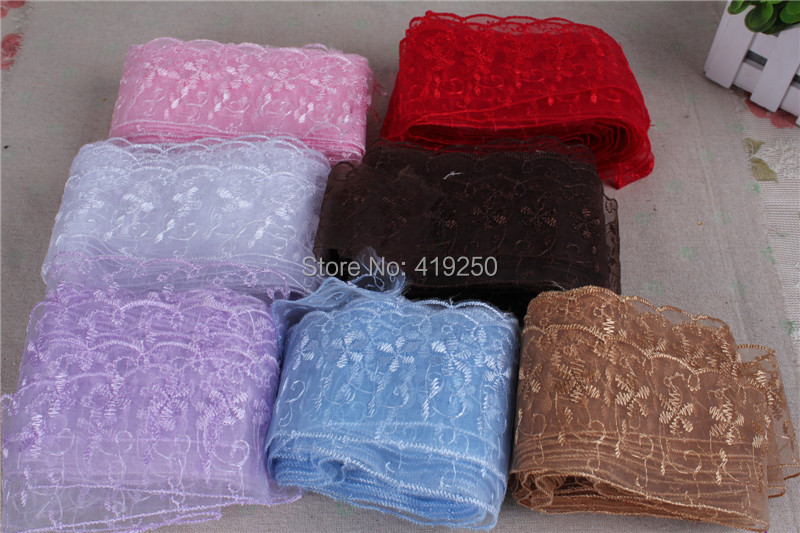 145yard 6.5cm wide  cheap embroidered Lace trimming Flower lace  wedding craft   22 colors