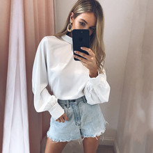 Women Long Sleeve Blouse Shirt Summer Sexy Lady White Chiffon Tops Casual Round Neck Female Black Top XL