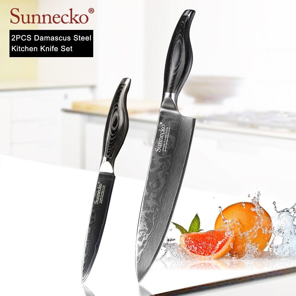 Ev ve Bahçe'ten Bıçak Setleri'de SUNNECKO 2 ADET Mutfak Bıçak Seti Şef Maket Bıçağı Şam Japon VG10 Çelik Pakka Ahşap Kolu Keskin Et Meyve Kesici bıçak'da  Grup 1