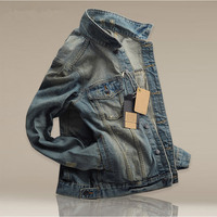 New Slim Men S Buttons Decorated Jacket Denim Jacket Men S Winter Fashion Lightly Washed Long