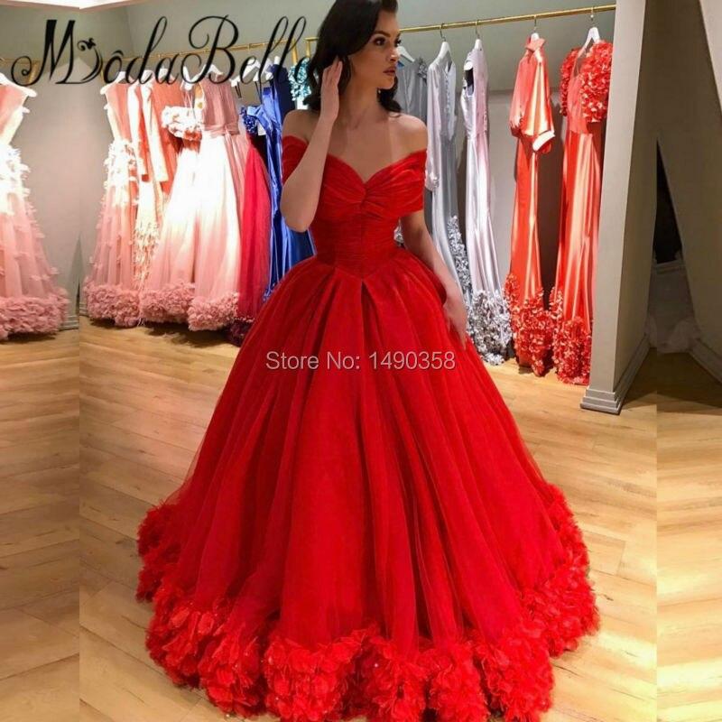 Modest Largo Rojo Prom Vestidos Con Flores 3d 2017 de La Princesa Del Hombro Bai