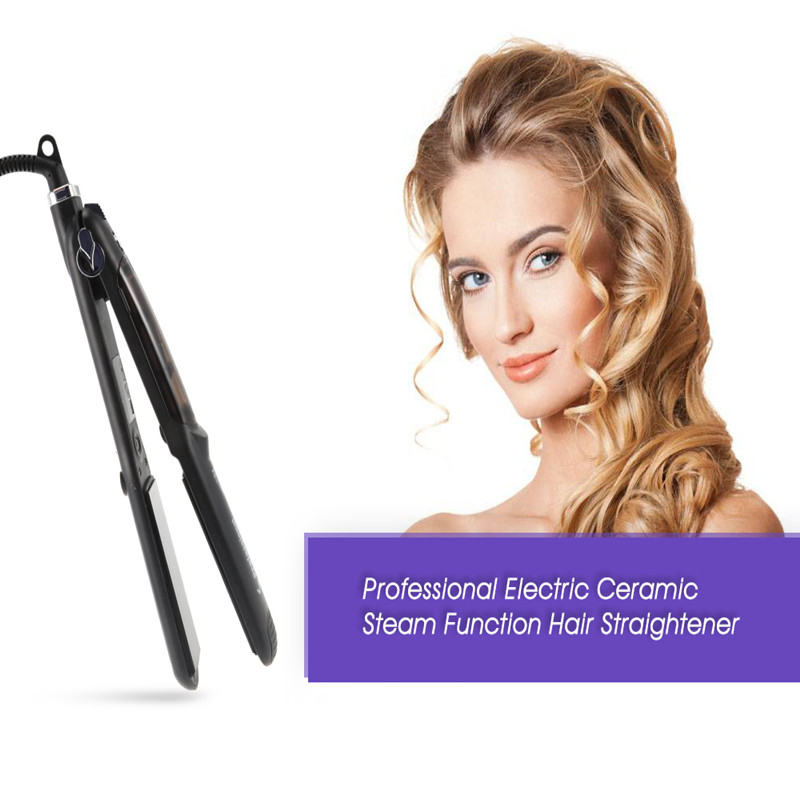 Professional Electric Ceramic 110-240V Steam Function Straightening Irons Hair Straightener Thermostatic Flat Iron Styling Tools