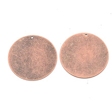 200pcs Metal Tags Pendants  Brass Blank Stamping Tag Pendants Flat Round, Red Copper /Antique Bronze color, 34x0.3mm, Hole: 1mm