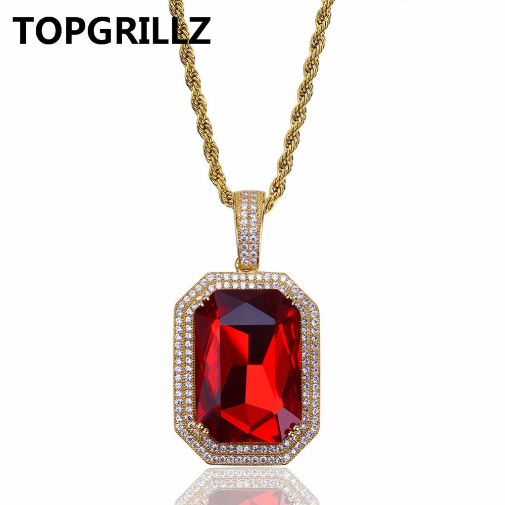 TOPGRILLZ Hip Hop Female Jewelry Necklace Gold Color Iced Out Micro Pave CZ Stone Red Stone Pendant Necklaces 60cm Rope Chain