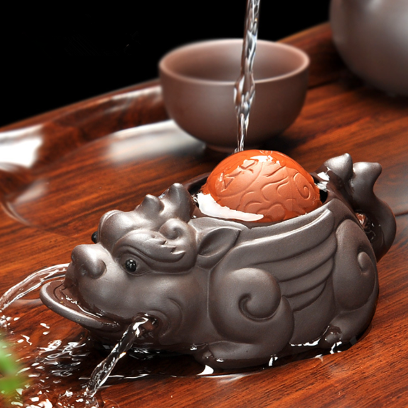 Handmade Yixing Brave Lucky Toad Boutique Tea Accessories Creative Small Ornaments Handmade Tea Pet Play Water 11x5cm F