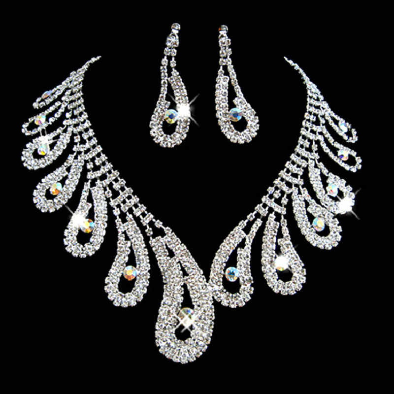 New Free Shipping Luxury Silver Plated Water Drop Austrian Crystal Wedding Bridal Jewelry Sets Charm Necklace Earrings Set