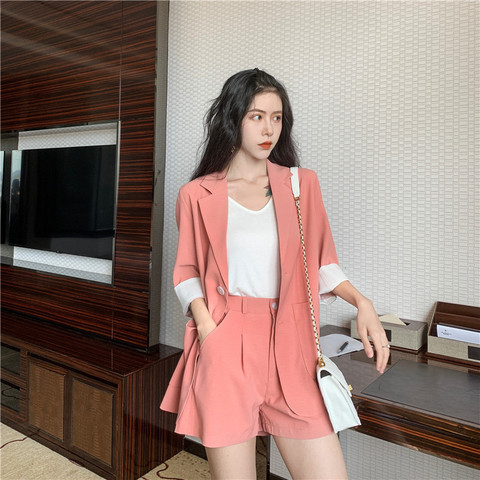 2019 Solid 2 Piece Set Women Summer Elegant Office Lady Casual Suits Two Piece Sets Top And Pants suit Islamabad