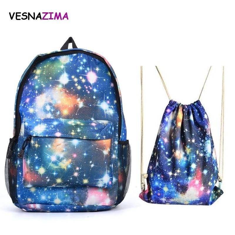 2017 Multicolor Women Canvas Backpack Stylish Galaxy Star Universe Space Backpack 2pcs/set Girls School Backbag Mochila WM588Z