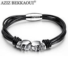 AZIZ BEKKAOUI Vintage Black Double Skull Bracelets For Men Engrave Name Stainless Steel Personalized Name Bangle Male Jewelry(China)