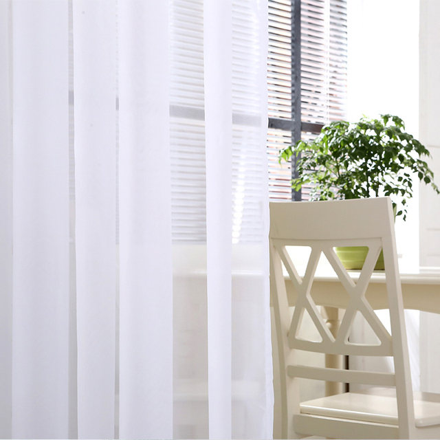 modern plain white sheer curtains kitchen voile tulle curtains for living room bedroom door window custom ready made 1 panel - White Sheer Curtains