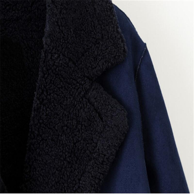 Pecho Mujer Doble Cordero Invierno Para Blue 2018 Moda Elegante Abrigo Grueso Gamuza De Navy Lana Largo SqxvwvRFp