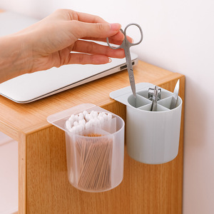Image 1 - 1PC Plastic Office Pencil Box Desk Organizer Cosmetic Brush Storage Home Stationery Pen Holder Makeup Storage Stick On Desktop