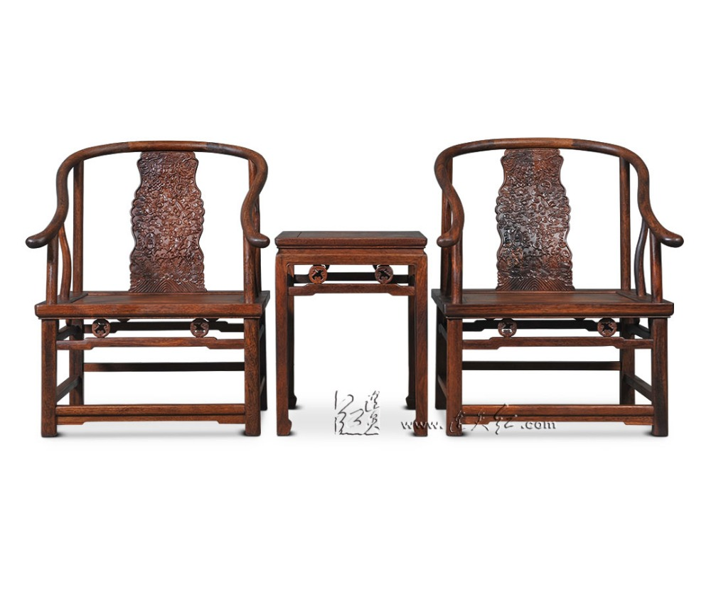 Chinese Modern Style Royal Rosewood Furniture Living Room Chairs Set Solid Wood Backed Armchairs 3 pieces Suit Luxurious Carving classical rosewood armchair backed china retro antique chair with handrails solid wood living dining room furniture factory set